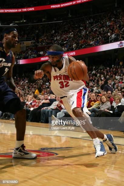 Richard Hamilton of the Detroit Pistons drives to the basket against LeBron James of the Cleveland Cavaliers on March 21 2010 at The Quicken Loans...