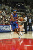 Richard Hamilton of the Detroit Pistons drives to the basket during a game against the Los Angeles Clippers at the Staples Center on November 8 2004...