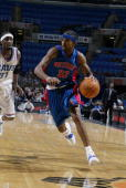 Richard Hamilton of the Detroit Pistons drives to the basket during the NBA game against the Cleveland Cavaliers at Gund Arena on February 16 2003 in...