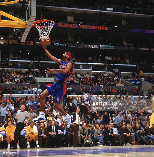 Richard Hamilton of the Detroit Pistons drives to the basket for a breakaway layup during a game against the Los Angeles Lakers at Staples Center on...
