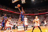 Richard Hamilton of the Detroit Pistons drives to the basket for a layup in game three of the Eastern Conference Finals against the Miami Heat during...