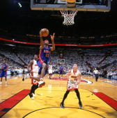 Richard Hamilton of the Detroit Pistons drives to the basket in game three of the Eastern Conference Finals against the Miami Heat during the 2006...