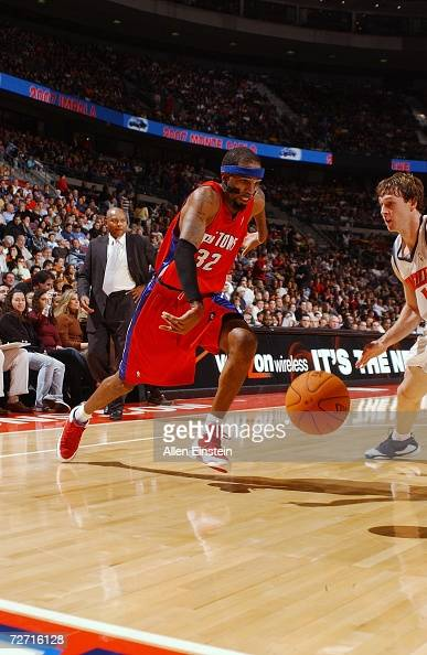 Richard Hamilton of the Detroit Pistons drives toward the basket during the game against the Charlotte Bobcats on November 22 2006 at the Palace of...