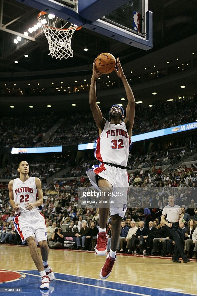 Richard Hamilton #32 of the Detroit Pistons goes to the basket against the Milwaukee Bucks on November 1, 2006 at the Palace of Auburn Hills in Auburn Hills, Michigan. Milwaukee won the game 105-97.