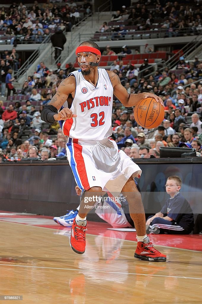 <a gi-track='captionPersonalityLinkClicked' href=/galleries/search?phrase=Richard+Hamilton+-+Basketball&family=editorial&specificpeople=201498 ng-click='$event.stopPropagation()'>Richard Hamilton</a> #32 of the Detroit Pistons handles the ball against the Houston Rockets during the game on March 7, 2010 at The Palace of Auburn Hills in Auburn Hills, Michigan. The Pistons won 110-107 in overtime.