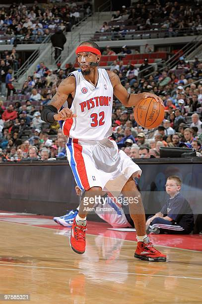 Richard Hamilton of the Detroit Pistons handles the ball against the Houston Rockets during the game on March 7 2010 at The Palace of Auburn Hills in...