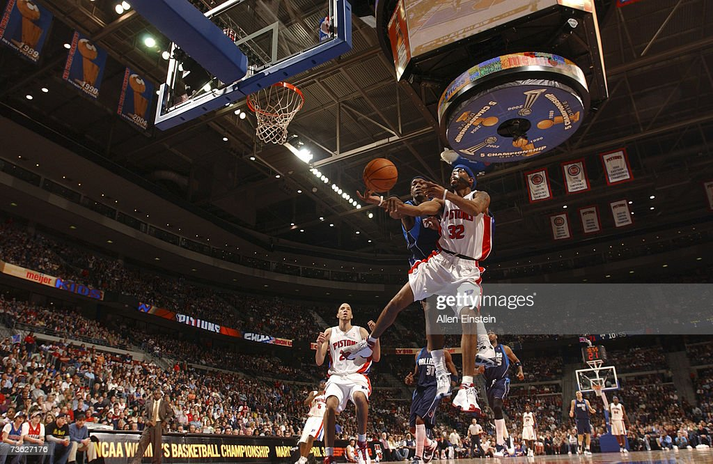 Richard Hamilton #32 of the Detroit Pistons is fouled on a shot attempt by Josh Howard #5 of the Dallas Mavericks during a game at the Palace of Auburn Hills March 18, 2007 in Auburn Hills, Michigan.