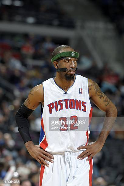 Richard Hamilton of the Detroit Pistons looks on against the Milwaukee Bucks in a game on April 8 2011 at The Palace of Auburn Hills in Auburn Hills...