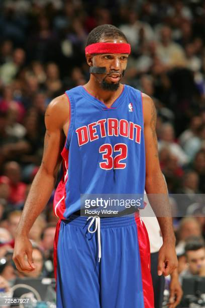 Richard Hamilton of the Detroit Pistons looks on during the game against the Sacramento Kings on November 8 2006 at ARCO Arena in Sacramento...