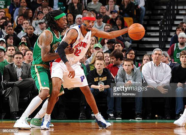 Richard Hamilton of the Detroit Pistons looks to make a move against Marquis Daniels of the Boston Celtics during the game at The TD Garden on March...
