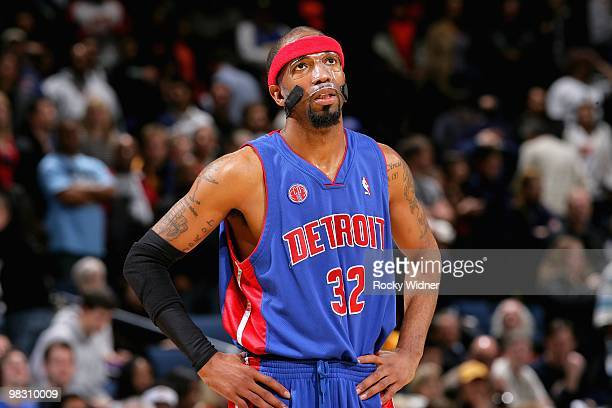 Richard Hamilton of the Detroit Pistons looks up during the game against the Golden State Warriors on February 27 2009 at Oracle Arena in Oakland...