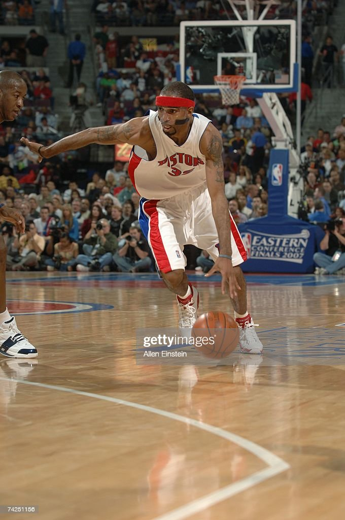 Richard Hamilton #32 of the Detroit Pistons moves the ball against the Cleveland Cavaliers in Game One of the Eastern Conference Finals during the 2007 NBA Playoffs at the Palace of Auburn Hills on May 21, 2007 in Auburn Hills, Michigan. The Pistons won 79-76.