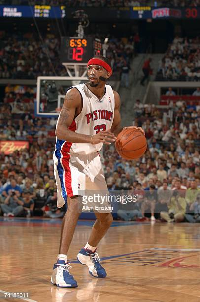 Richard Hamilton of the Detroit Pistons moves the ball in Game Five of the Eastern Conference Semifinals against the Chicago Bulls during the 2007...
