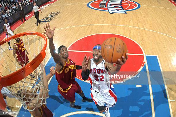 Richard Hamilton of the Detroit Pistons shoots against Christian Eyenga of the Cleveland Cavaliers on April 11 2011 at The Palace of Auburn Hills in...