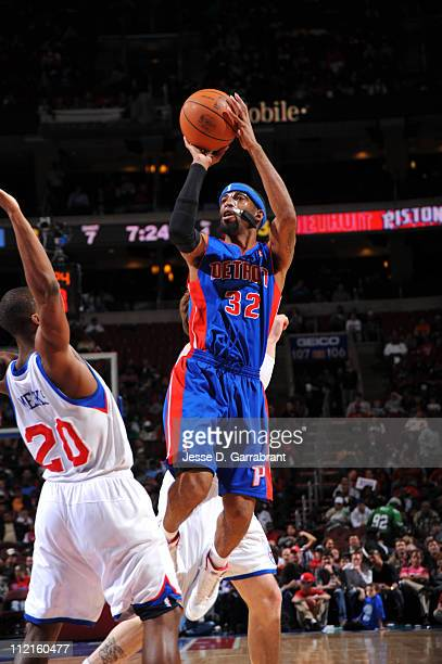 Richard Hamilton of the Detroit Pistons shoots against Jodie Meeks of the Philadelphia 76ers on April 13 2011 at the Wells Fargo Center in...