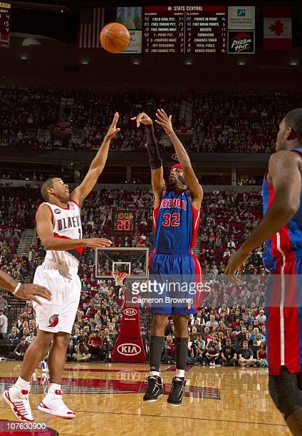 Richard Hamilton of the Detroit Pistons shoots during a game against the Portland Trail Blazers on November 9 2010 at the Rose Garden Arena in...