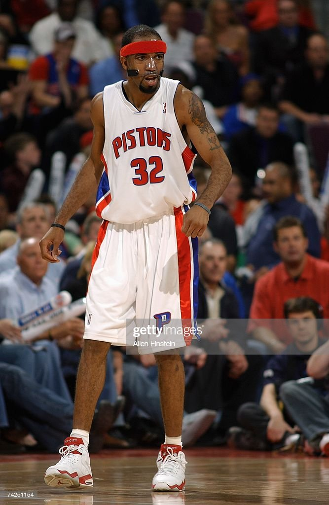 Richard Hamilton #32 of the Detroit Pistons stands on the court in Game One of the Eastern Conference Finals against the Cleveland Cavaliers during the 2007 NBA Playoffs at the Palace of Auburn Hills on May 21, 2007 in Auburn Hills, Michigan. The Pistons won 79-76.