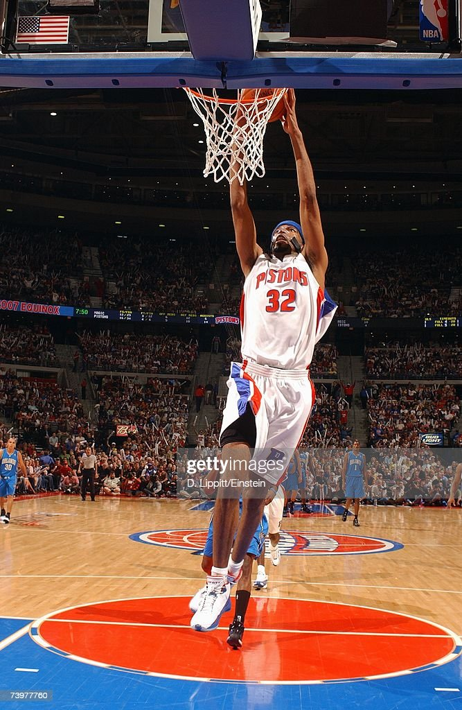 Richard Hamilton #32 of the Detroit Pistons takes the ball to the basket against the Orlando Magic in Game One of the Eastern Conference Quarterfinals during the 2007 NBA Playoffs at The Palace of Auburn Hills on April 21, 2007 in Auburn Hills, Michigan. The Pistons won 100-92.