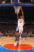 Richard Hamilton of the Detroit Pistons takes the ball to the basket against the Orlando Magic in Game One of the Eastern Conference Quarterfinals...