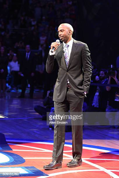 Richard Hamilton speaks during the half time ceremony for Chauncey Billups former Detroit Pistons player jersey retirement by the Detroit Pistons...