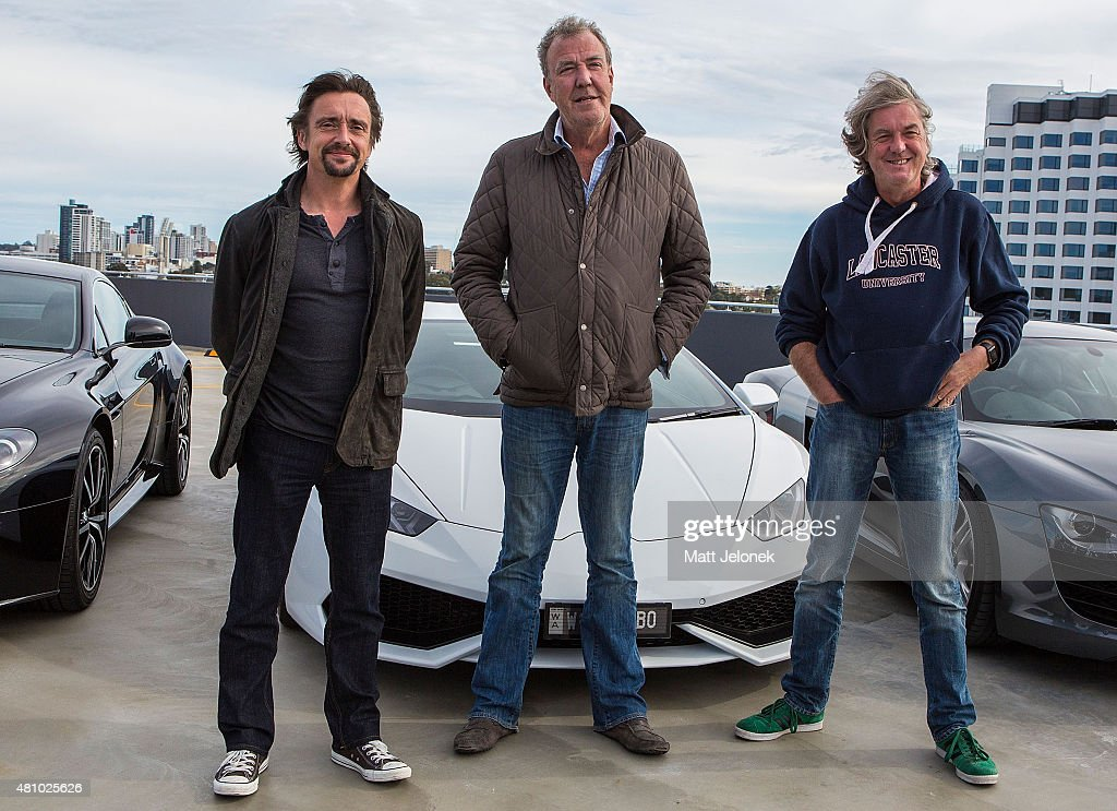 Richard Hammond, Jeremy Clarkson and James May during a press event on July 17, 2015 in Perth, Australia.