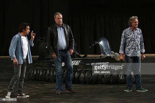 Richard Hammond Jeremy Clarkson and James May during Clarkson Hammond and May Live at Perth Arena on July 19 2015 in Perth Australia