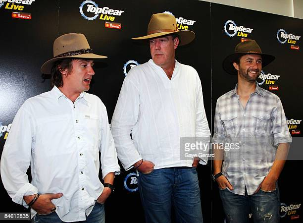 Richard Hammond Jeremy Clarkson and Steve Pizzati pose during a press conference for 'Top Gear Live' in the Rocks on February 4 2009 in Sydney...