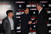 Richard Hammond Tom Cruise and Jeremy Clarkson attend the UK Premiere of Mission Impossible Ghost Protocol at The BFI IMAX on December 13 2011 in...
