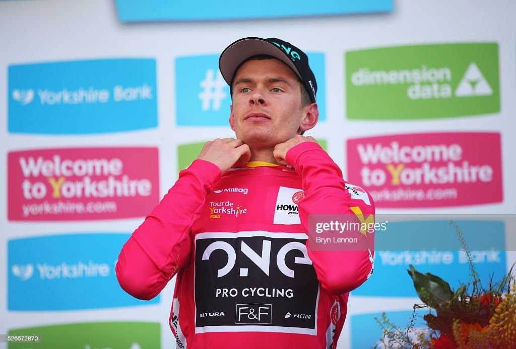 Richard Handley of One Pro Cycling and Great Britain puts on the King of the Mountains jersey after the second stage of the 2016 Tour de Yorkshire between Otley and Doncaster on April 30, 2016 in Doncaster, England.