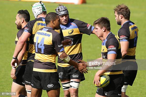 Richard Hardwick of the Spirit is congratulated by team mates after scoring a try during the round six NRC match between the Perth Spirit and...