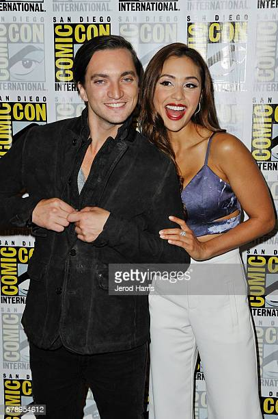 Richard Harmon and Lindsey Morgan attend the media panel for 'The 100' at ComicCon International on July 22 2016 in San Diego California