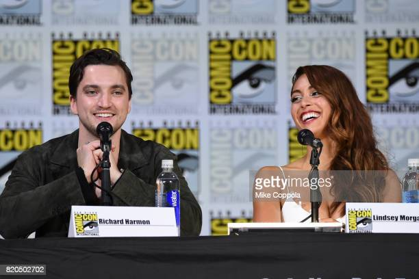 Richard Harmon and Lindsey Morgan speak onstage at ComicCon International 2017 'The 100' panel at San Diego Convention Center on July 21 2017 in San...