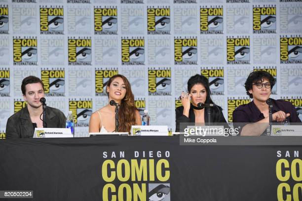 Richard Harmon Lindsey Morgan Marie Avgeropoulos and Bob Morley speak onstage at ComicCon International 2017 'The 100' panel at San Diego Convention...