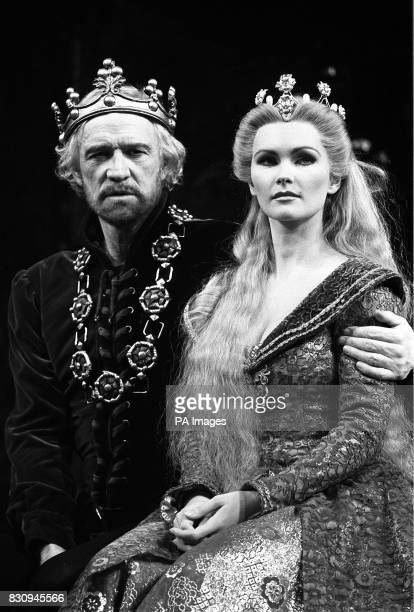 Richard Harris as King Arthur and Fiona Fullerton as Queen Geunevere in costume on the stage of the Apollo Victoria theatre today for 'Camelot' *...