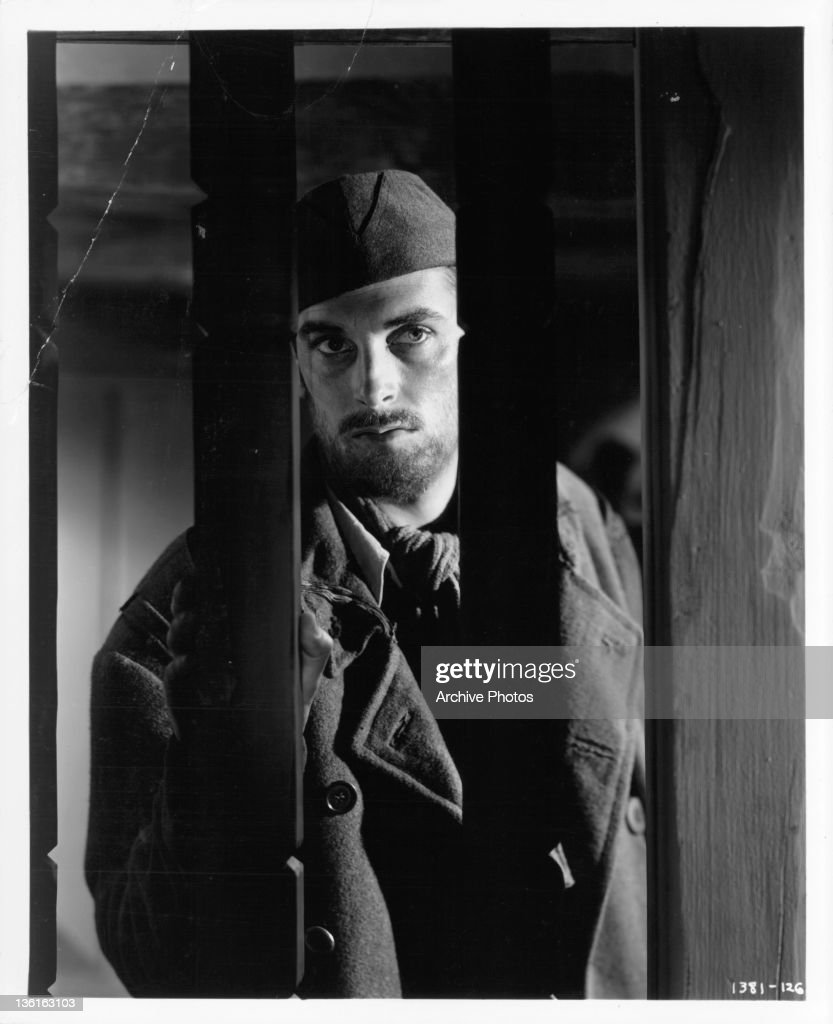 Richard Hart in WWI German prison camp in a scene from the film 'Desire Me', 1947.