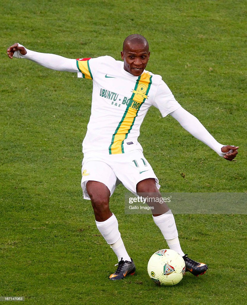 Richard Henyekane of Mamelodi Sundowns in action during the Absa Premiership match between AmaZulu and Mamelodi Sundowns at Moses Mabhida Stadium on April 21, 2013 in Durban, South Africa.