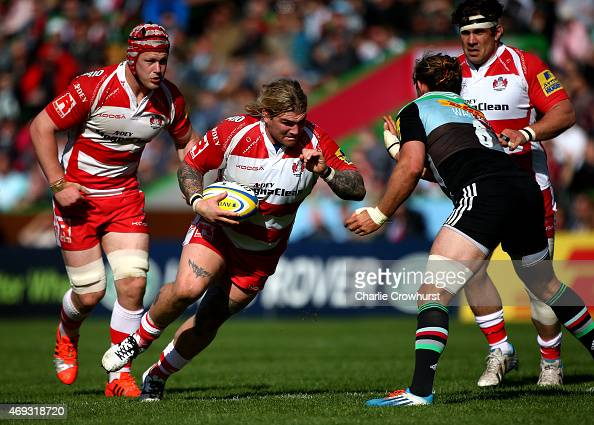 Richard Hibbard of Gloucester looks to attacks during the Aviva Premiership match between Harlequins and Gloucester at Twickenham Stoop on April 11...