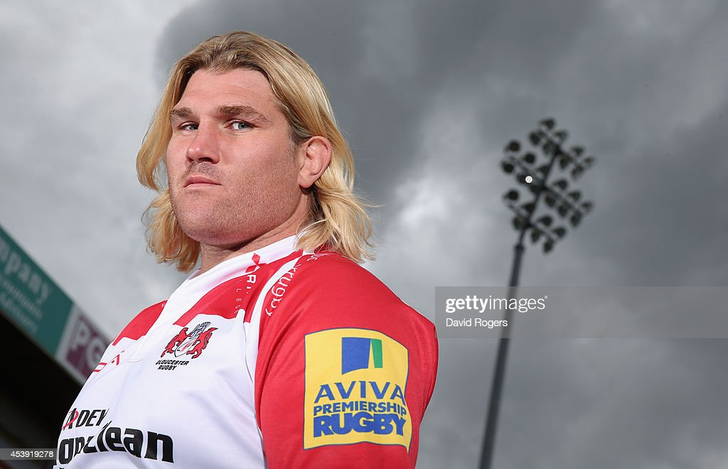 Richard Hibbard of Gloucester poses at the photocall held at Kingsholm Stadium on August 21 2014 in Gloucester England