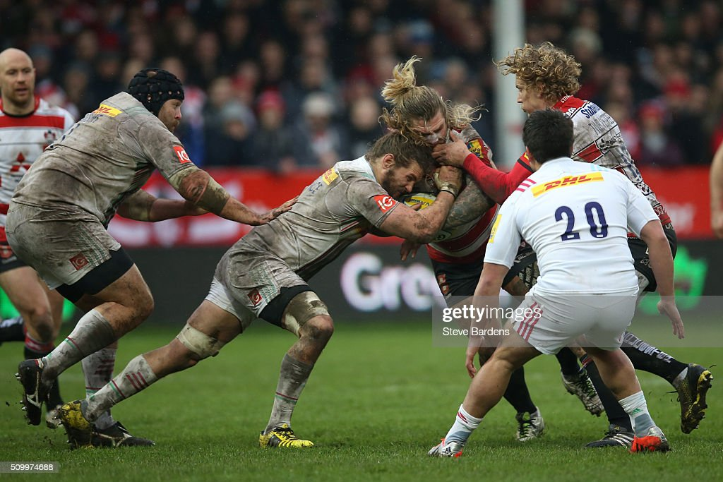 <a gi-track='captionPersonalityLinkClicked' href=/galleries/search?phrase=Richard+Hibbard&family=editorial&specificpeople=4313527 ng-click='$event.stopPropagation()'>Richard Hibbard</a> of Gloucester Rugby is tackled by <a gi-track='captionPersonalityLinkClicked' href=/galleries/search?phrase=Luke+Wallace&family=editorial&specificpeople=7156608 ng-click='$event.stopPropagation()'>Luke Wallace</a> of Harlequins during the Aviva Premiership match between Gloucester Rugby and Harlequins at Kingsholm Stadium on February 13, in Gloucester, England.
