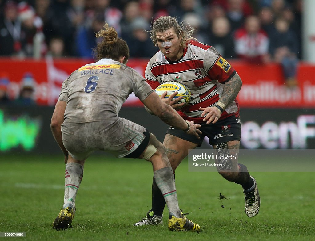 <a gi-track='captionPersonalityLinkClicked' href=/galleries/search?phrase=Richard+Hibbard&family=editorial&specificpeople=4313527 ng-click='$event.stopPropagation()'>Richard Hibbard</a> of Gloucester Rugby takes on <a gi-track='captionPersonalityLinkClicked' href=/galleries/search?phrase=Luke+Wallace&family=editorial&specificpeople=7156608 ng-click='$event.stopPropagation()'>Luke Wallace</a> of Harlequins during the Aviva Premiership match between Gloucester Rugby and Harlequins at Kingsholm Stadium on February 13, in Gloucester, England.