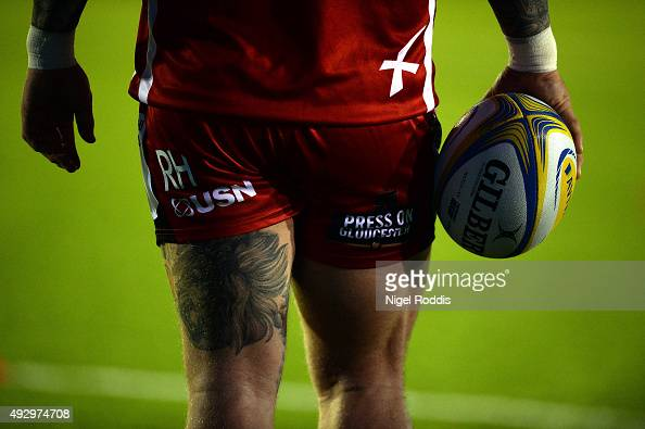 Richard Hibbard of Gloucester warms up during the Aviva Premiership match between Newcastle Falcons and Gloucester at Kingston Park on October 16...
