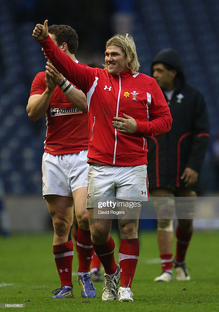 Richard Hibbard of Wales celebrates at the end of the RBS Six Nations match between Scotland and Wales at Murrayfield Stadium on March 9, 2013 in Edinburgh, Scotland.