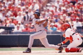 Richard Hidalgo of the Houston Astros bats against the St Louis Cardinals on July 1 2000 at Busch Stadium in St Louis Missouri