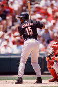 Richard Hidalgo of the Houston Astros bats against the St Louis Cardinals on July 2 2000 at Busch Stadium in St Louis Missouri