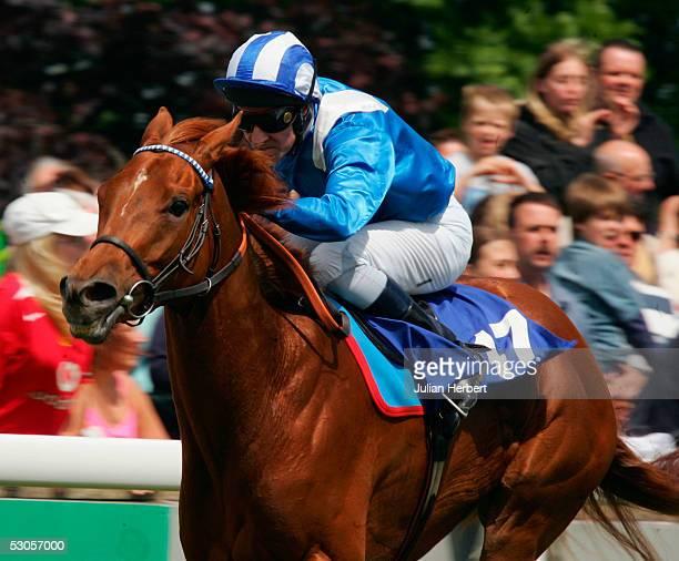 Richard Hills brings Teeba home to land The toteexaxta Maiden Fillies Stakes Race run at Salisbury Racecourse on June 12 2005 at Salisbury England
