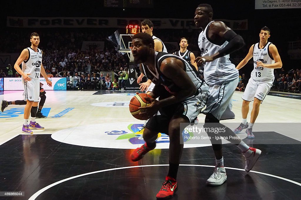 Richard Howell of Pasta Reggia competes with Jeremy Hazell of Granarolo during the LegaBasket Serie A1 basketball match between Granarolo Bologna and...