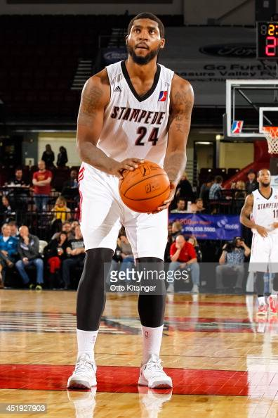 Richard Howell of the Idaho Stampede goes to the line for a free throw during an NBA DLeague game against the Bakersfield Jam on November 22 2013 at...