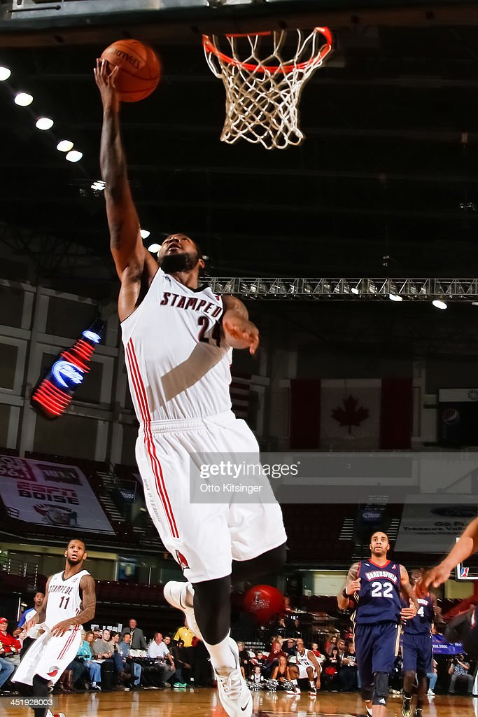 Richard Howell of the Idaho Stampede goes up to the basket for a layup during an NBA DLeague game against the Bakersfield Jam on November 22 2013 at...