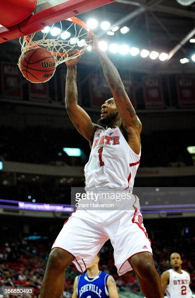 Richard Howell of the North Carolina State Wolfpack dunks against the North CarolinaAsheville Bulldogs during play at PNC Arena on November 23 2012...