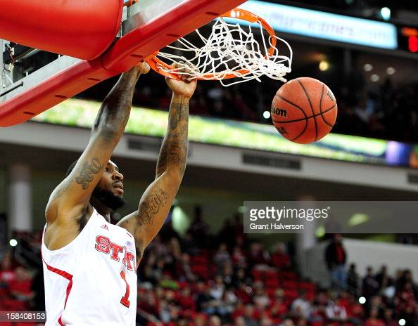 Richard Howell of the North Carolina State Wolfpack dunks against the Norfolk State Spartans during play at PNC Arena on December 15 2012 in Raleigh...